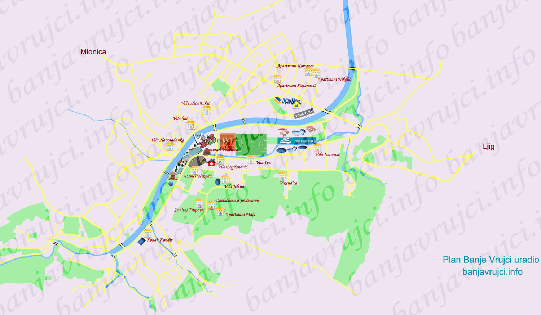 Banja Vrujci Mapa Karta Banje Vrujci