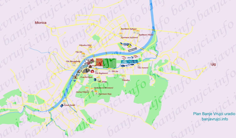 banja vrujci mapa Banja Vrujci mapa   karta Banje Vrujci banja vrujci mapa